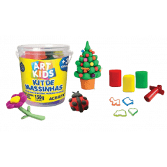 KIT DE MASSINHA 1 - POTE COM 3 MASSINHAS E FORMINHAS